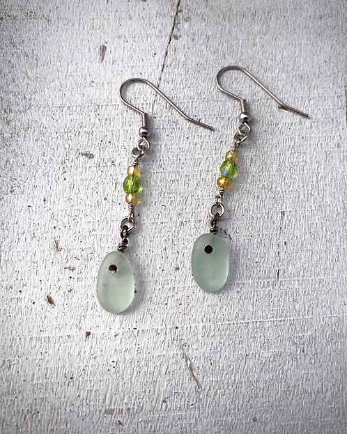 Seaglass Drop Earrings Seafoam
