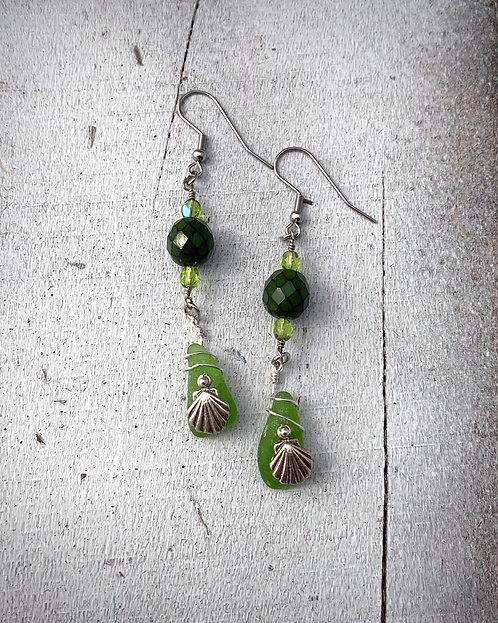 Seaglass & Shell Charm Earrings Green
