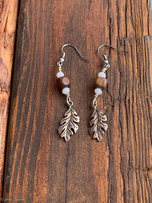 Leaf Charm Earrings: Oak/silver
