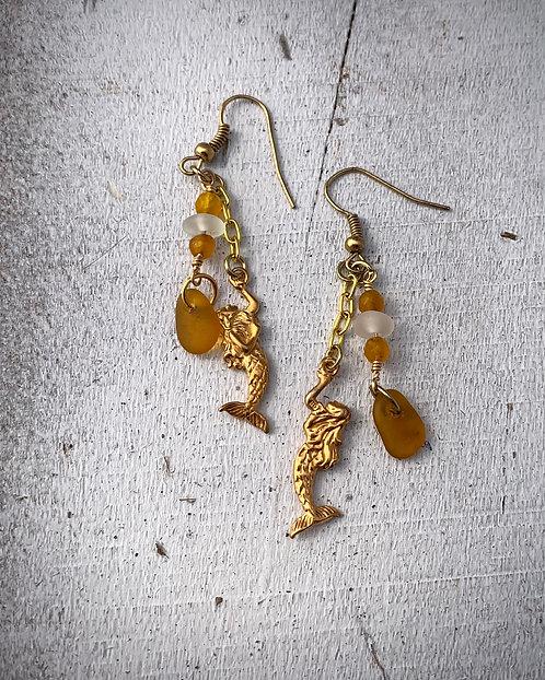 Seaglass and Mermaid Charm Earrings Dark Amber