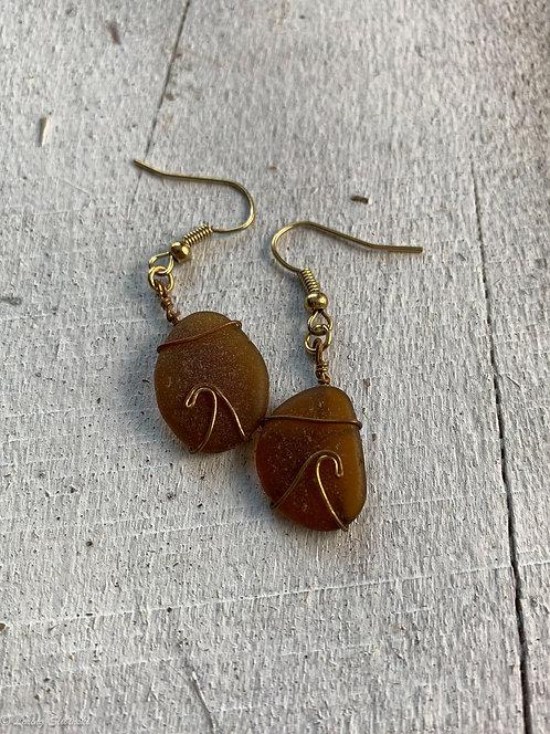 Seaglass Wave Earrings Amber/Red