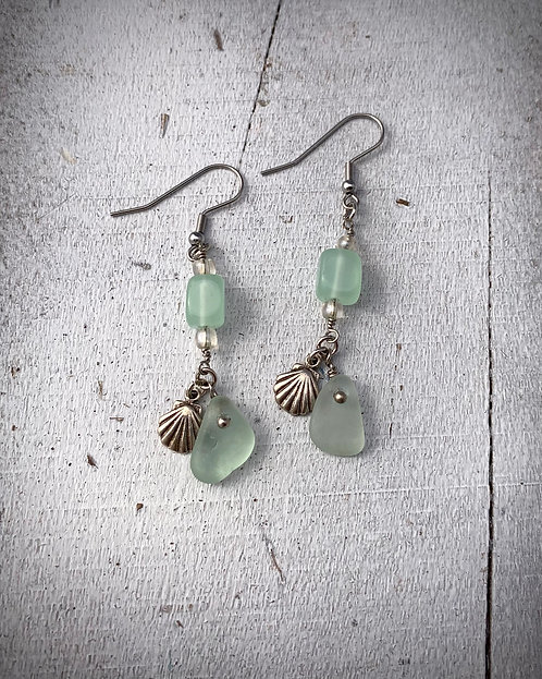 Seaglass and Shell Charm Earrings Seafoam