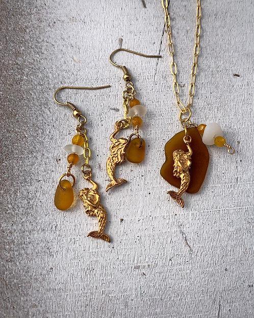 Seaglass and Mermaid Charm Set Dark Amber