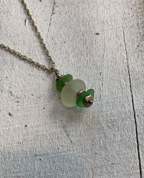 Stacked Seaglass Necklace #9