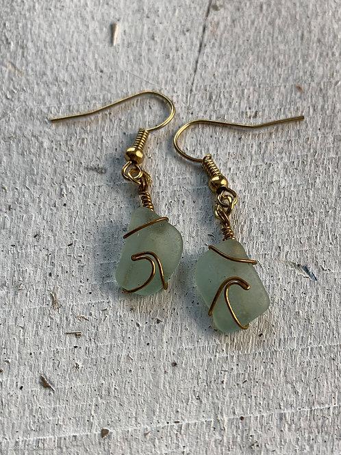 Seaglass Wave Earrings Seafoam