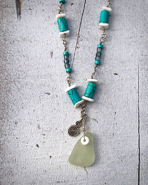 Turqoise Necklace with Seaglass Charm