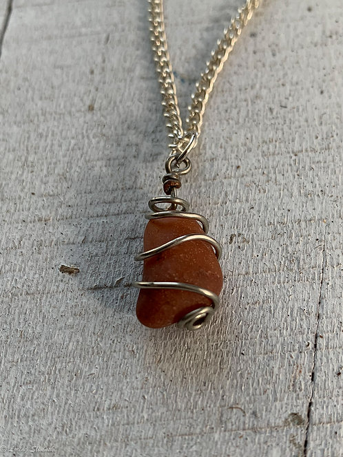 Caged Stone Necklace - Red