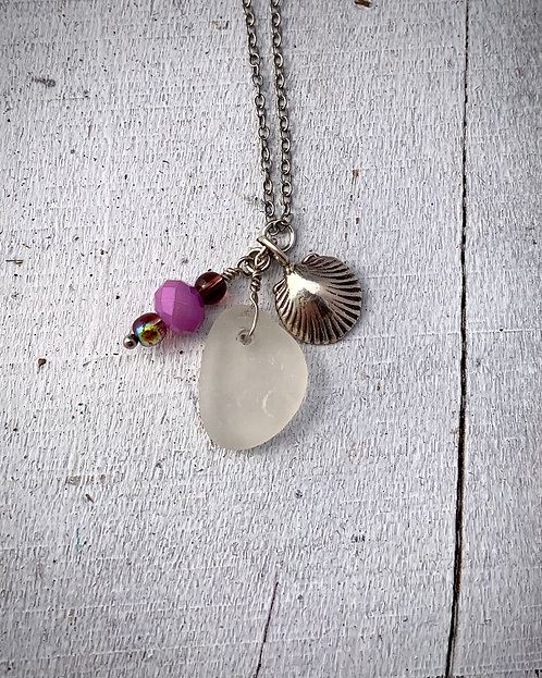 Seaglass and Shell Charm Necklace White/Purple