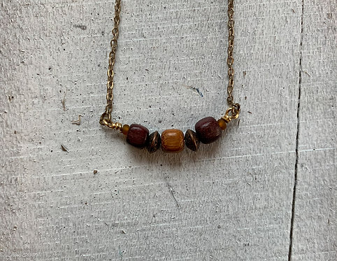 Exotic Wood Bead Necklace#6