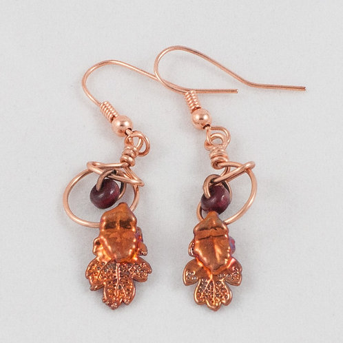 Gilded Leaf Earrings: Oak/Copper