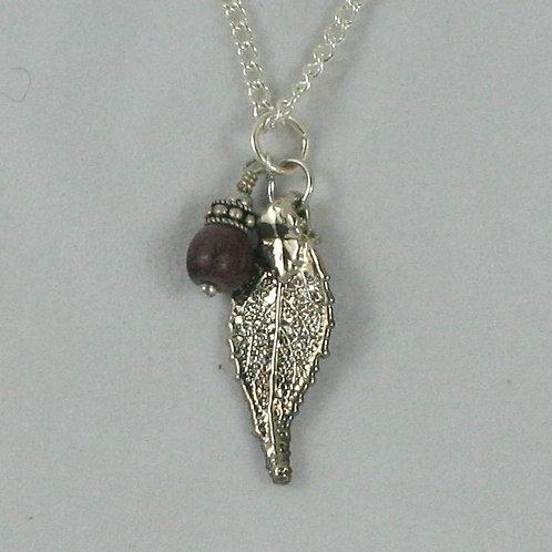 Gilded-leaf Necklace: Hickory
