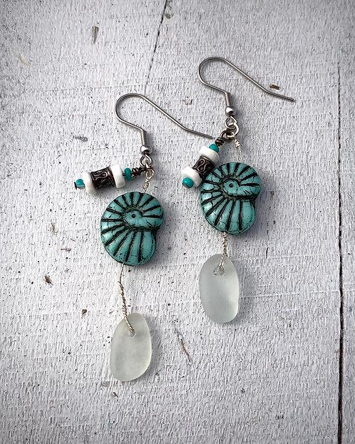 Seaglass and Nautilus Charm Earrings