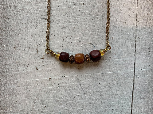 Exotic Wood Bead Necklace#4