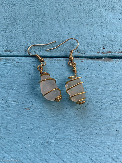 Caged Seaglass Earrings 2