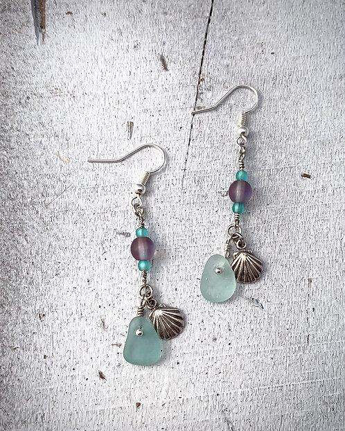 Seaglass and Shell Charm Earrings Lt Blue
