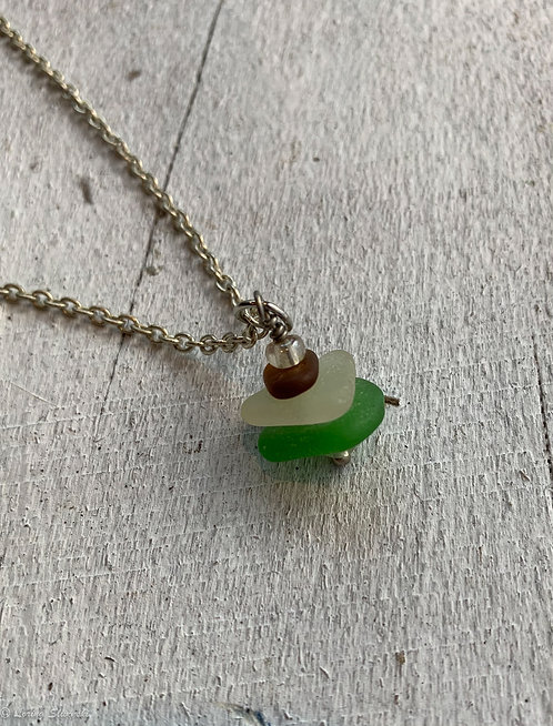 Stacked Seaglass Necklace #10