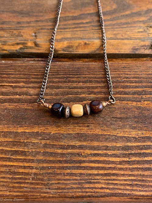 Exotic Wood Bead Necklace#15