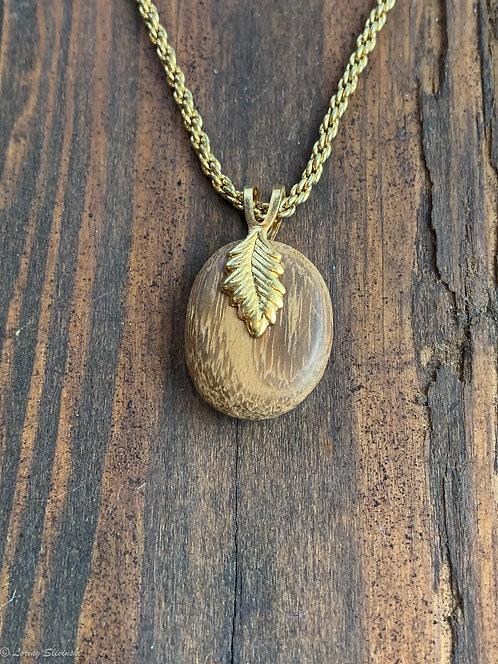 Leaf-bail Necklace: Teakwood & gold