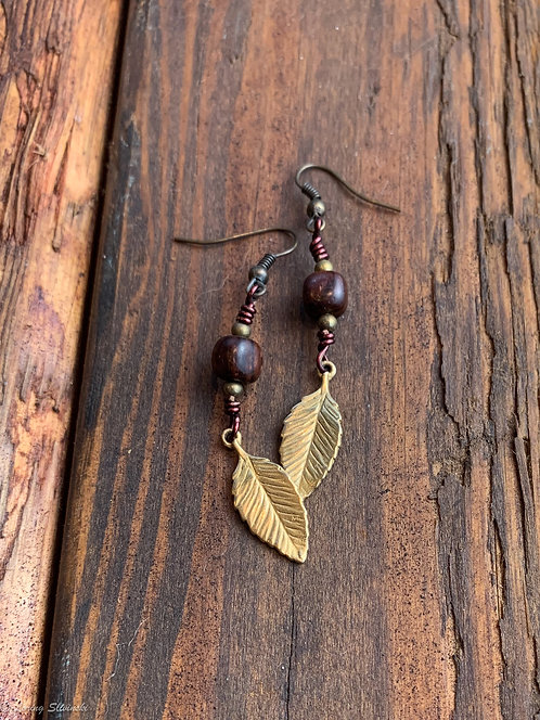 Charm Earrings: Chestnut/Gold #2