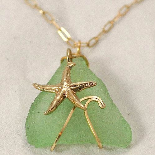 Seaglass Wave Necklace (various colors available)