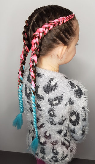 Hot Pink to Blue Ombre Braiding Extensions