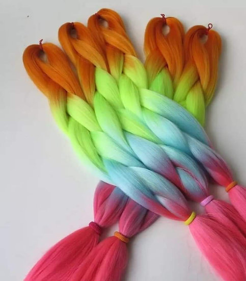 Neon Rainbow Ombre Braiding Extensions