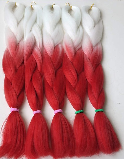 White to Red Ombre Braiding Extensions