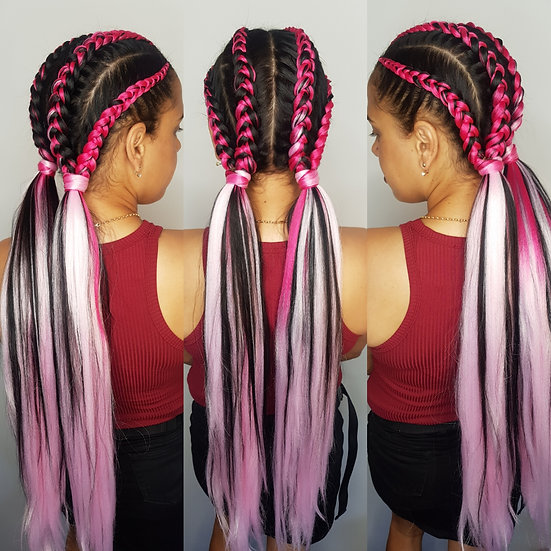 Dark to Light Pink Ombre Braiding Extensions