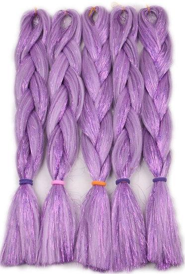 Purple Tinsel Braiding Extensions