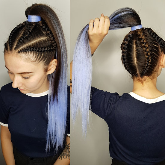 Black to Light Blue Ombre Braiding Extensions