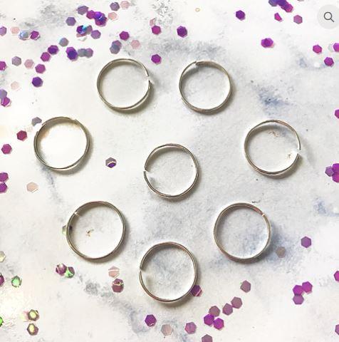 Silver Hair Rings - Pack of 8