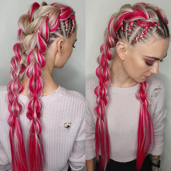 Candy Cane Pink Braiding Extensions