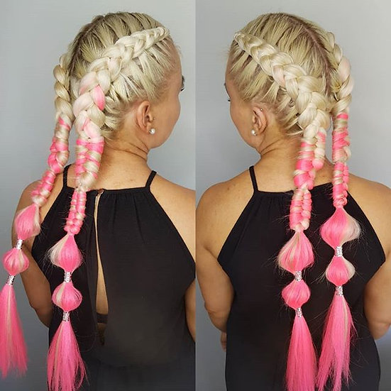 Platinum Blonde to Hot Pink Ombre Braiding Extensions