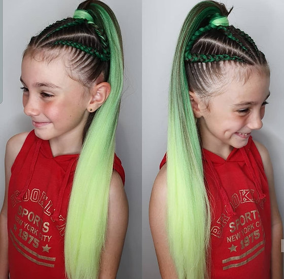 Mixed Green Ombre Braiding Extensions