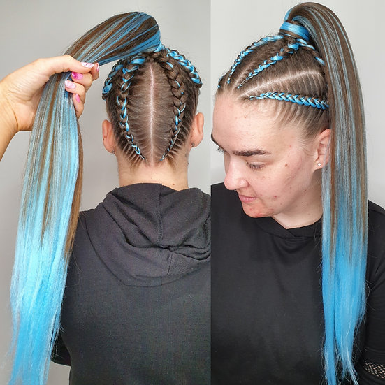 Sky Blue Synthetic Braiding Extensions