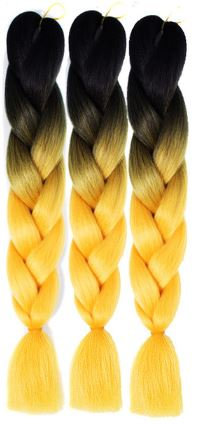 Black to Yellow Ombre Braiding Extensions
