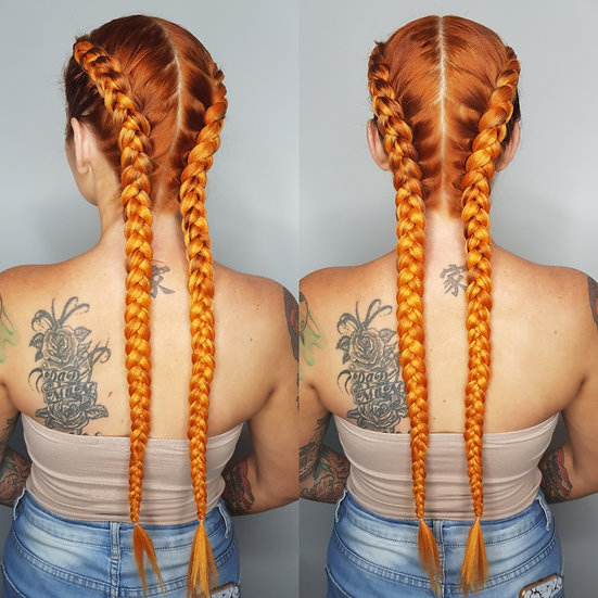 Burnt Orange Braiding Extensions