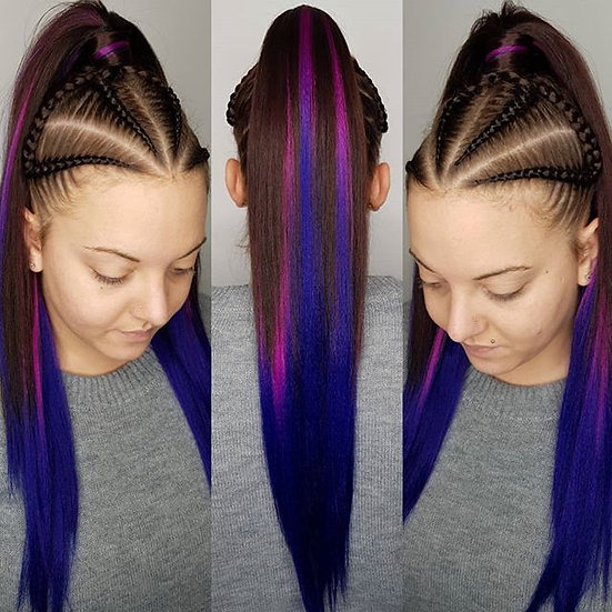 Black Purple Fuschia Ombre Braiding Extensions