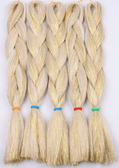 Blonde with Gold Tinsel Braiding Extensions