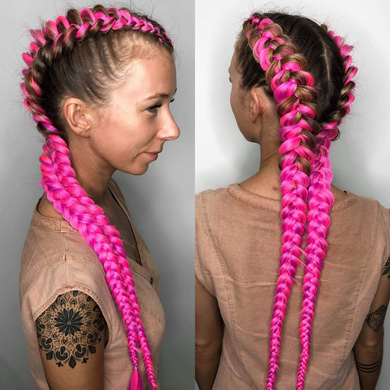 Hot Pink Braiding Extensions