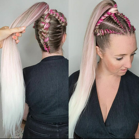 Pink Flare Ombre Braiding Extensions