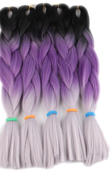 Black Purple Grey Braiding Extensions