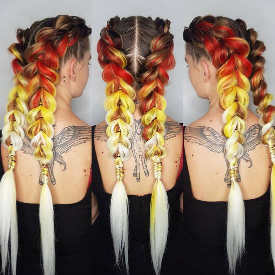 Fire Engine Ombre Braiding Extensions
