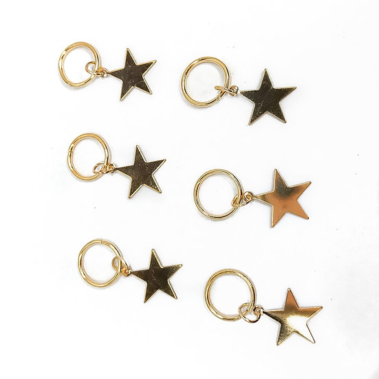 Gold Star Hair Rings - Pack of 6