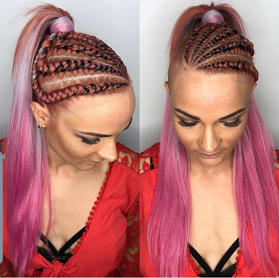 Black Grey Pink Ombre Braiding Extensions