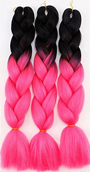 Black to Hot Pink Ombre Braiding Extensions