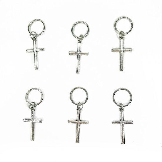 Silver Crosses Hair Rings - Pack of 6