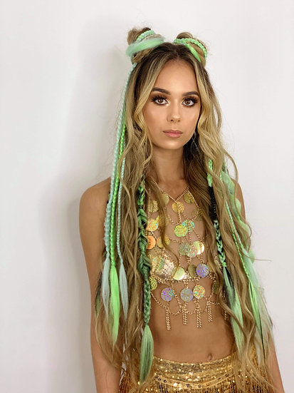 Clipin Dreads & Plaits - *LIME GREEN EXAMPLE*