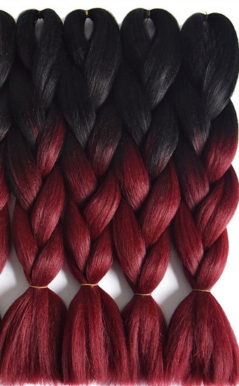 Black to Burgundy Ombre Braiding Extensions