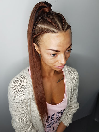 Red Brown Braiding Extensions